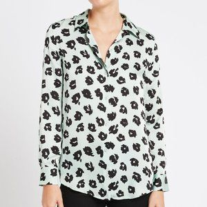 Equipment Femme The Essential Shirt Mint/Black Abstract Floral Size Medium